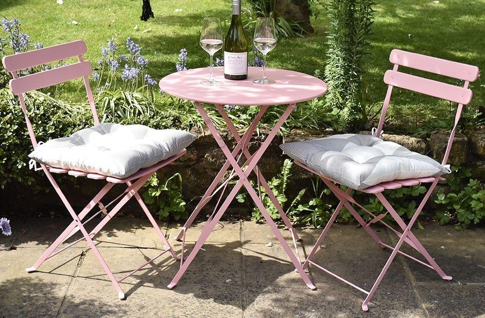 Metal Bistro 3 Piece Set Pastel Pink Bistro Set Garden Styles