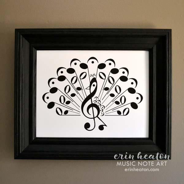 Peacock Music Note Art Print Music Notes Art Music Notes
