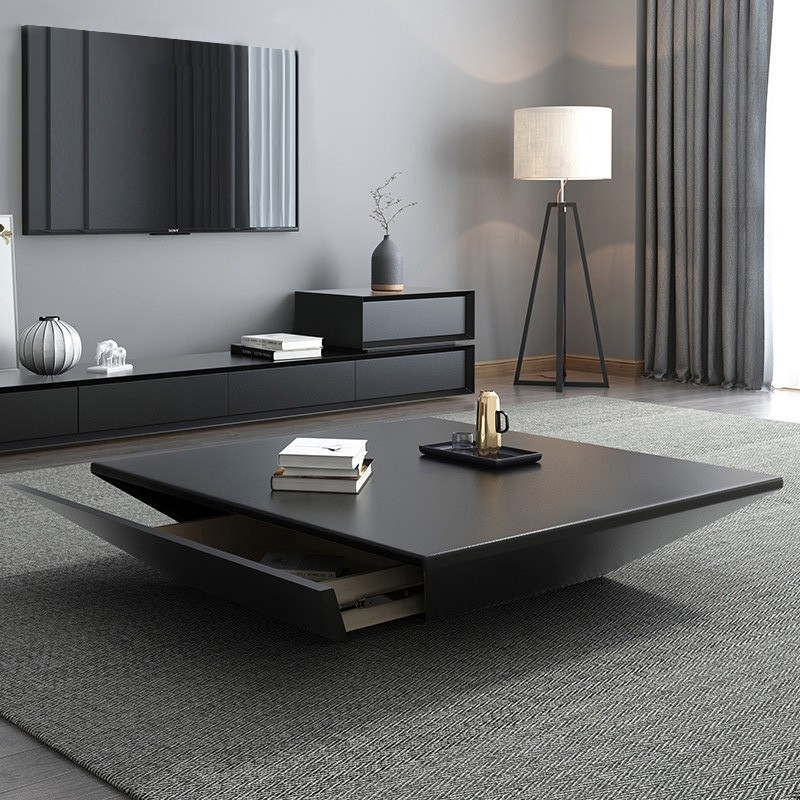 Modern Black Wood Coffee Table With Storage Square Drum Coffee
