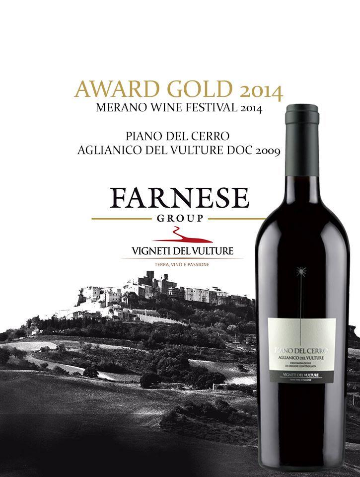 MERANO AWARD GOLD FOR OUR AGLIANICO PIANO DEL CERRO.#Farnesevini, #vino, #wine, #vin, #vinoitaliano, #italianwine, #vinitalien, #Farnese, #aglianico, #aglianicodelvulture, #vinilucani, #winelover, #vignetidelvulture