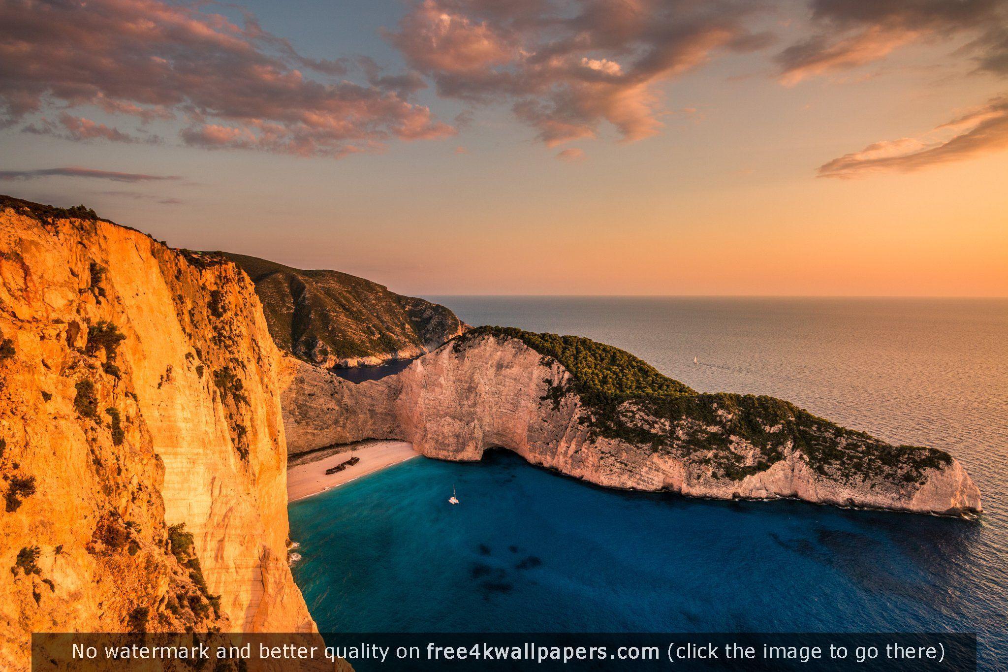 Greece Beach Wallpaper: Shipwreck Bay In Zakynthos During Sunset Navagio Beach