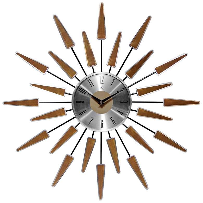 Satellite 23 Wide Mid Century Modern Starbust Wall Clock 9y679 Lamps Plus Sunburst Clock Mid Century Wall Clock Vintage Wall Clock