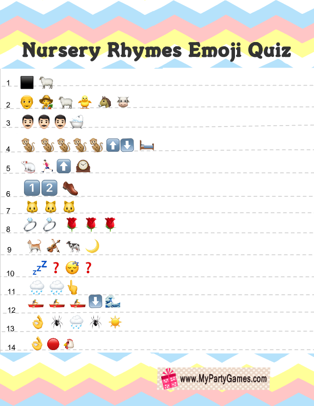Free Printable Baby Shower Nursery Rhymes Emoji Quiz In 2019