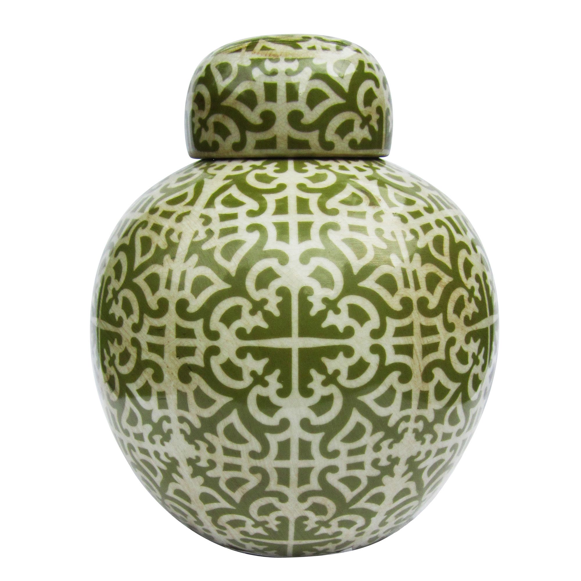 Ginger Jar Green Off White Porcelain With Lid Via Coco Cozy