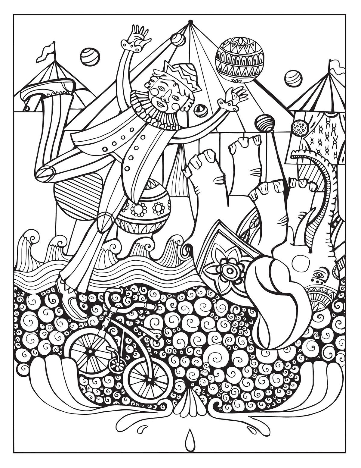 A Day At The Circus Coloring Page On Behance Coloring Pages Coloring Books Pattern Coloring Pages
