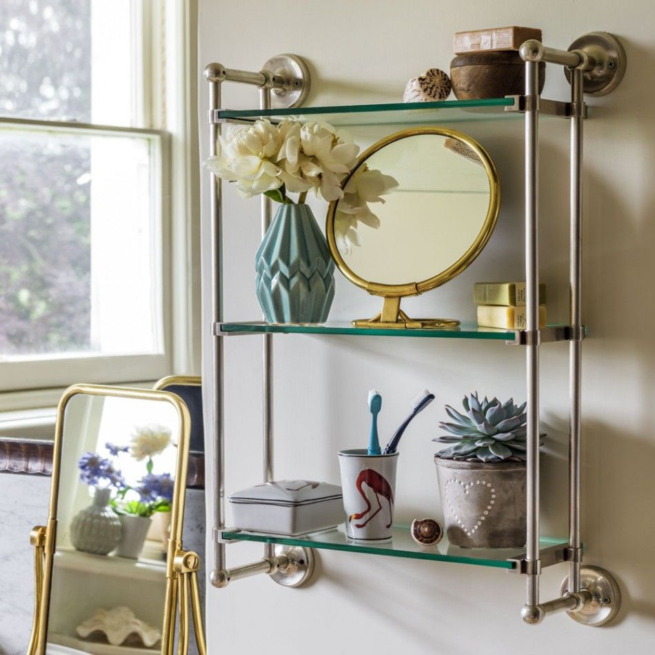Otto Antique Silver Three Tier Glass Shelf Bathroom Unit | Bathroom ...