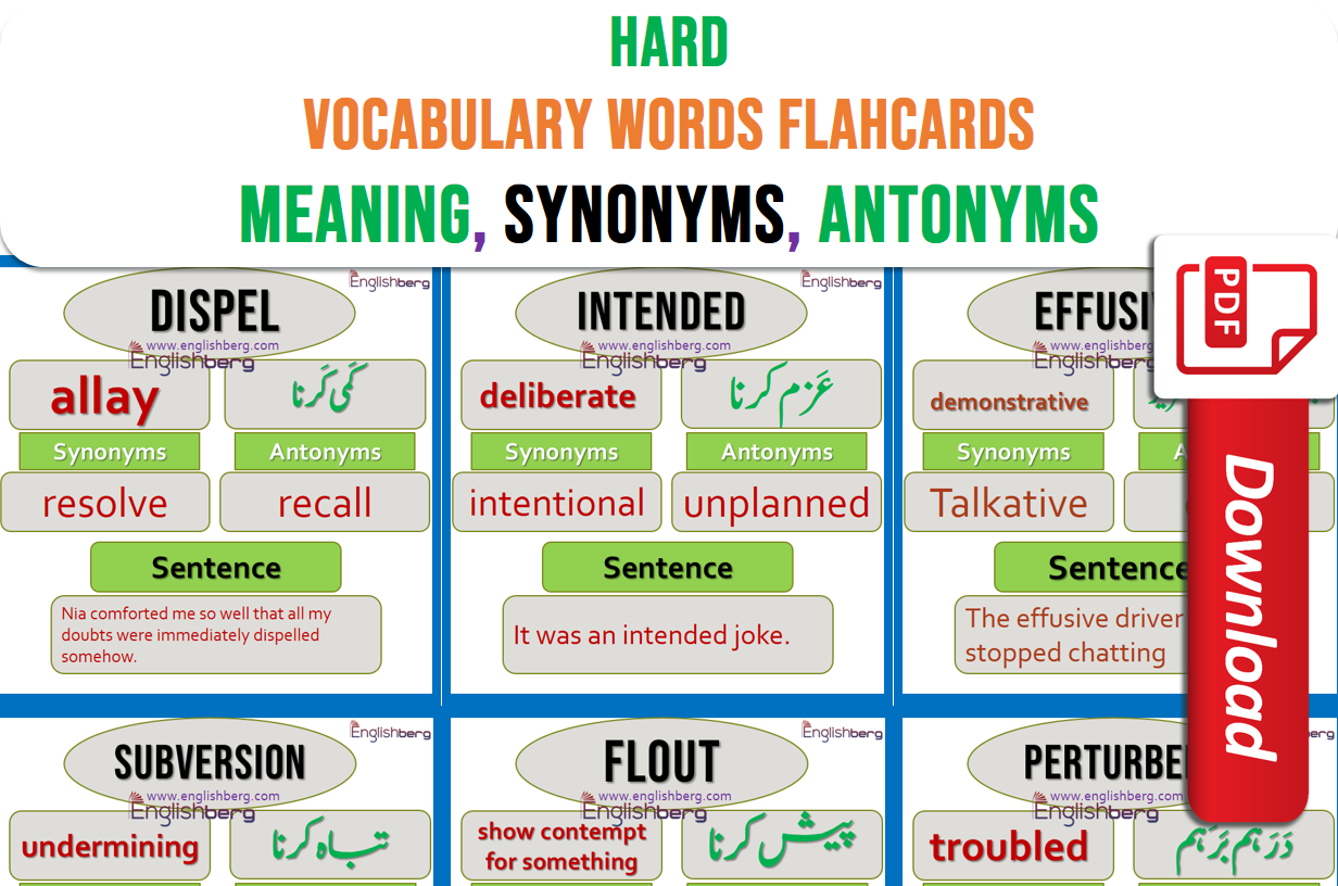 Hard Vocabulary Words With Meaning And Sentences