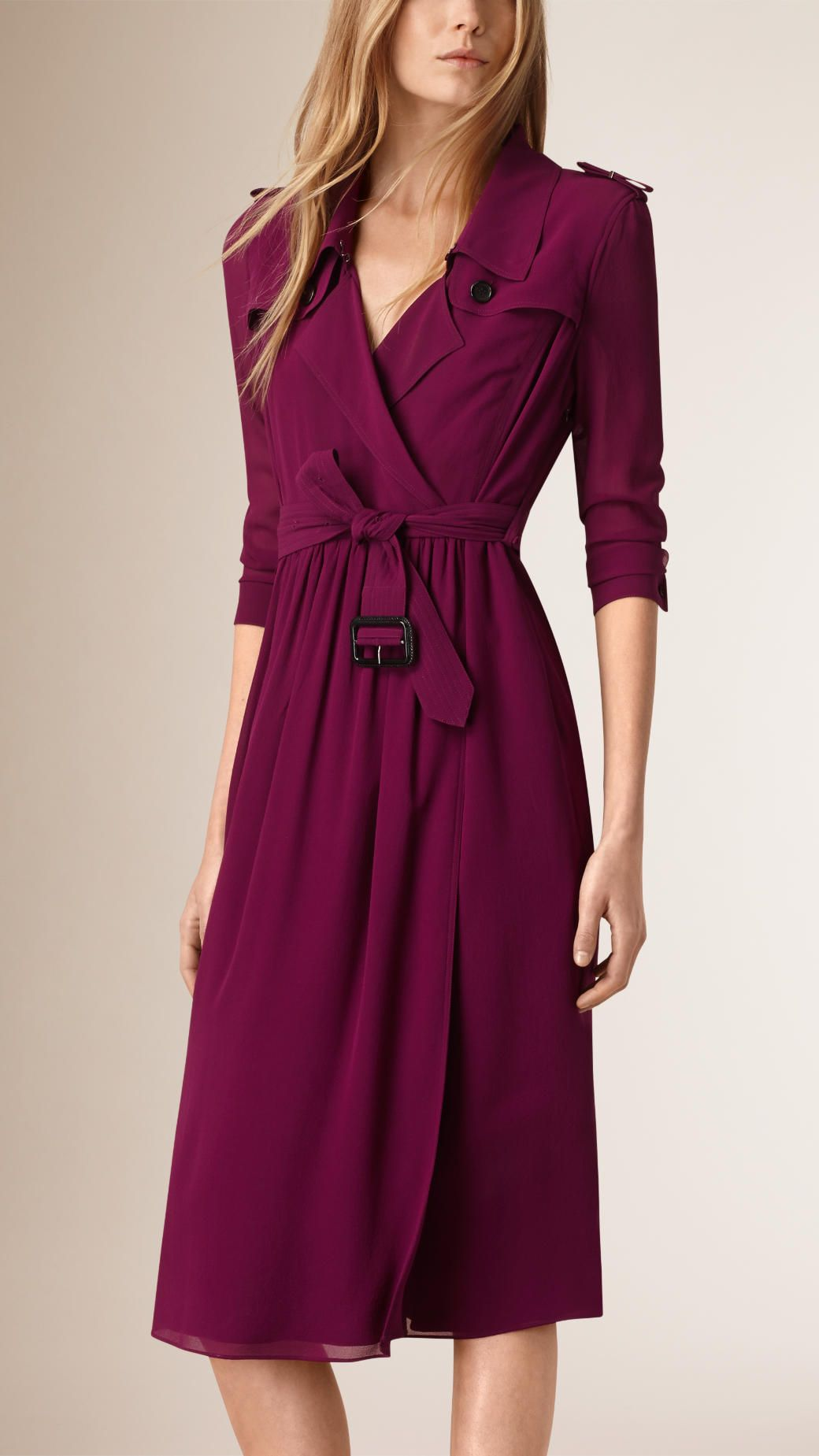 51cff7783dd Silk Wrap Trench Dress in Bright Burgundy