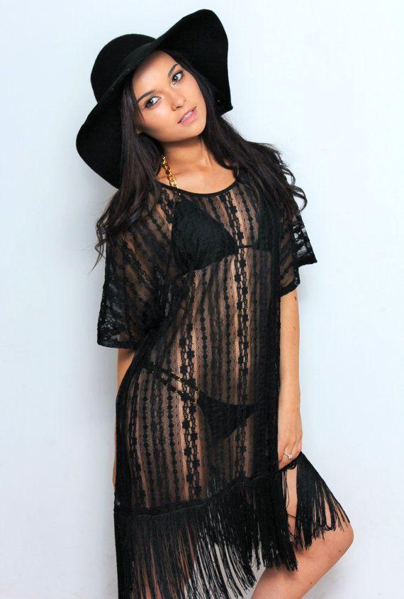 588cd849fb0 Kaftan Black lace fringe kaftan beachwear by Goddessresortwear Beach Kaftan
