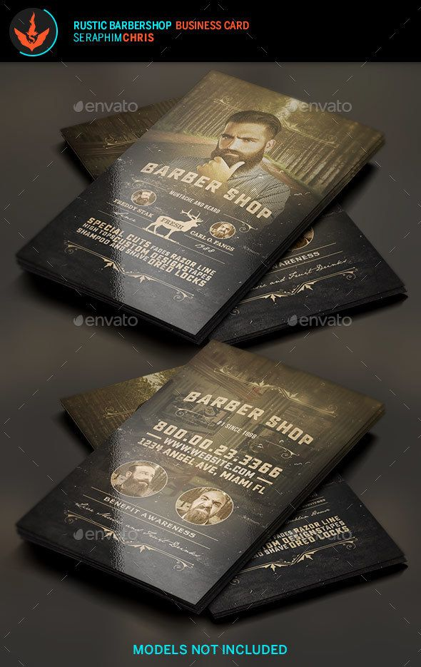 Rustic Barbershop Business Card Template | Barbershop, Card ...