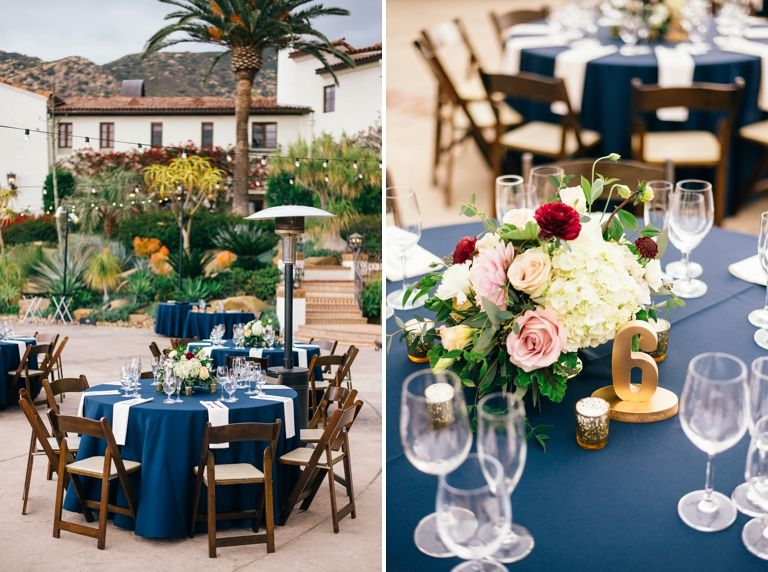 Model Of table setting navy table linen with cream linen napkins - navy napkins Pictures