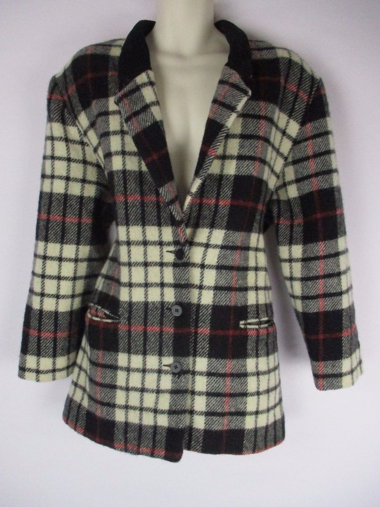 Vintage Woolrich Jacket Wool Plaid Coat Womans XL Made in USA Black Beige Checks #Woolrich #BasicCoat