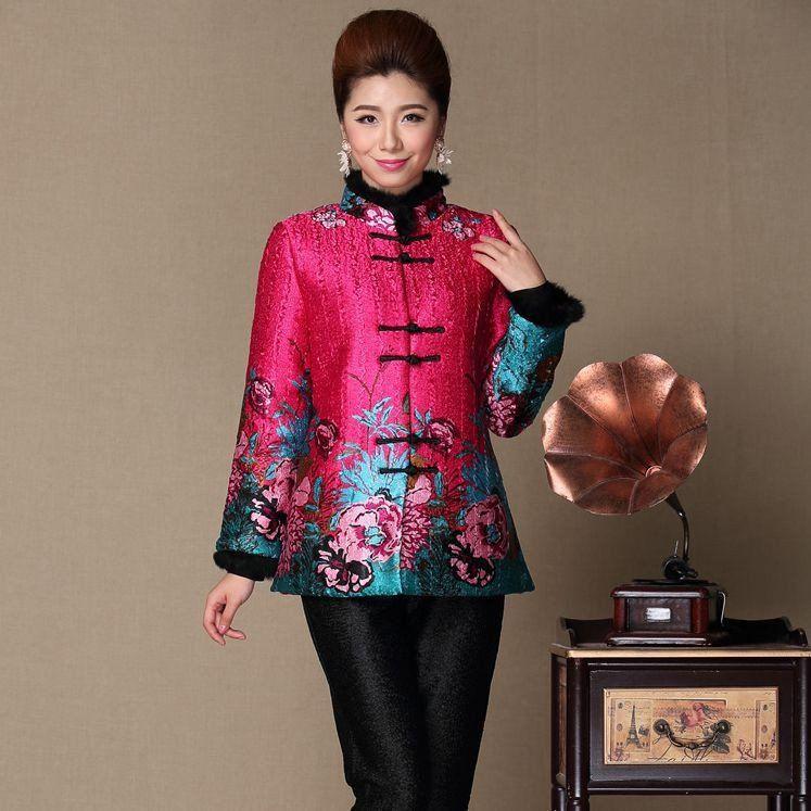 e6b50b827 Noble Pink Pleated Silk Fur Collar & Cuff Chinese Wadded Coat - iDreamMart .com