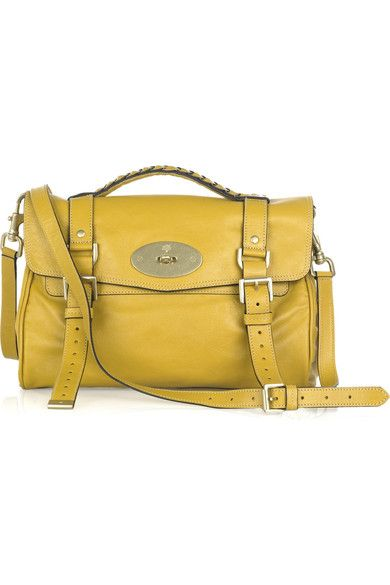 a6a7a138d297 Mulberry Alexa. Yellow buffalo-leather small satchel-style shoulder bag  with gold-tone hardware. Mulberry bag has a plaited top handle