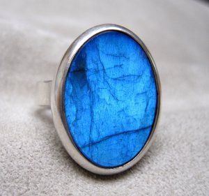 Olaf Nybo of Copenhagen: Magic Stones: Ring in Sterling Silver, Labradorite