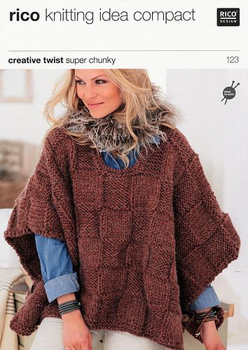 Super Chunky Poncho Pattern By Rico Design Ponchos Knitting And