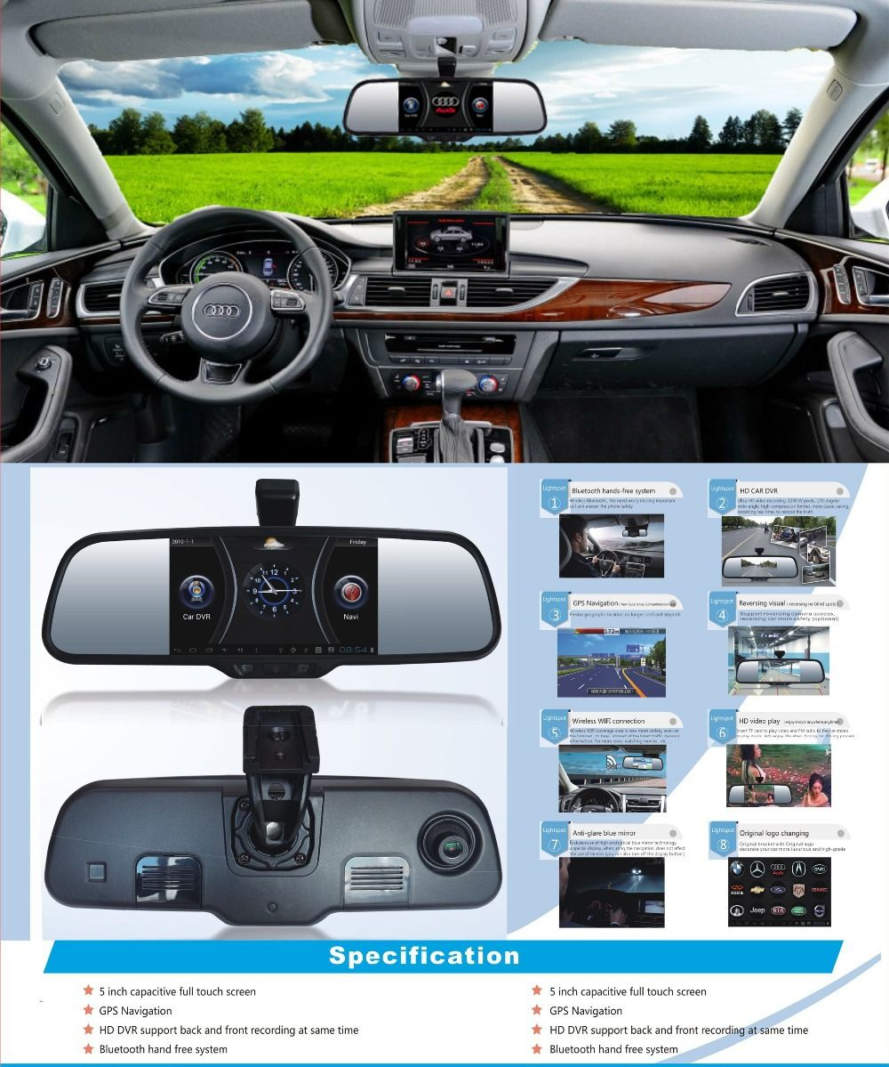 "Capactive Screen 5"" Android 4.0 Dual Lens HD Car Rear View"