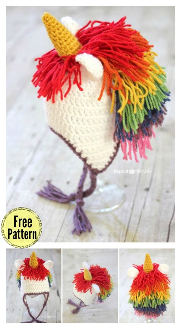 Cute Unicorn Hat Free Crochet Pattern | Crochet / Sewing | Pinterest