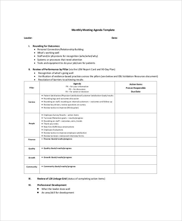Agenda Sample Format Prepossessing Board Meeting Agenda Template  Template  Pinterest  Template .