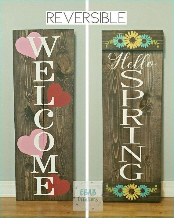 40 Awesome DIY Wood Welcome Spring Sign Ideas | Diy wood ...