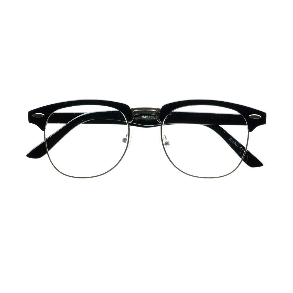 7491933c3e Retro Style Half Frame Clear Lens Clubmaster Glasses Frame W1050 ...