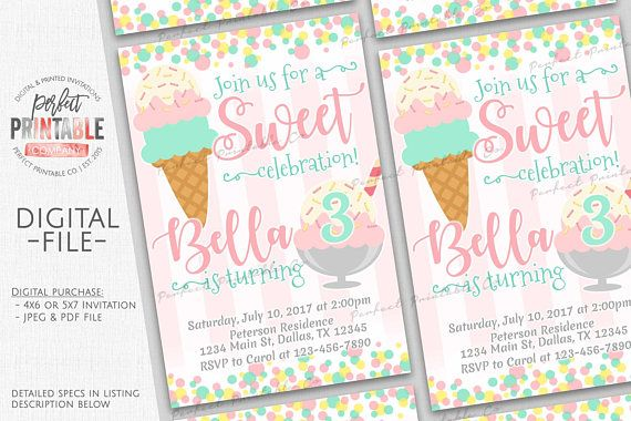 Ice Cream Invitation, Ice Cream Birthday Party Invitation, Ice Cream