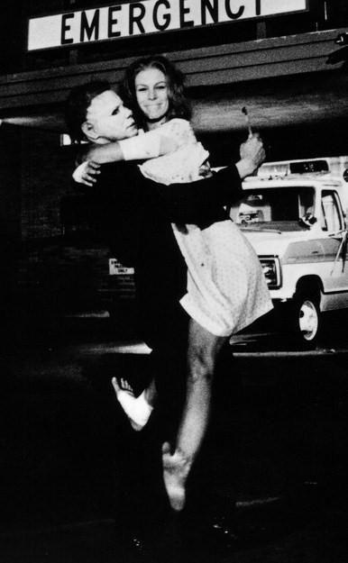 Stuntman Dick Warlock as Michael Myers with Jamie Lee Curtis on the set of Halloween II (1981)