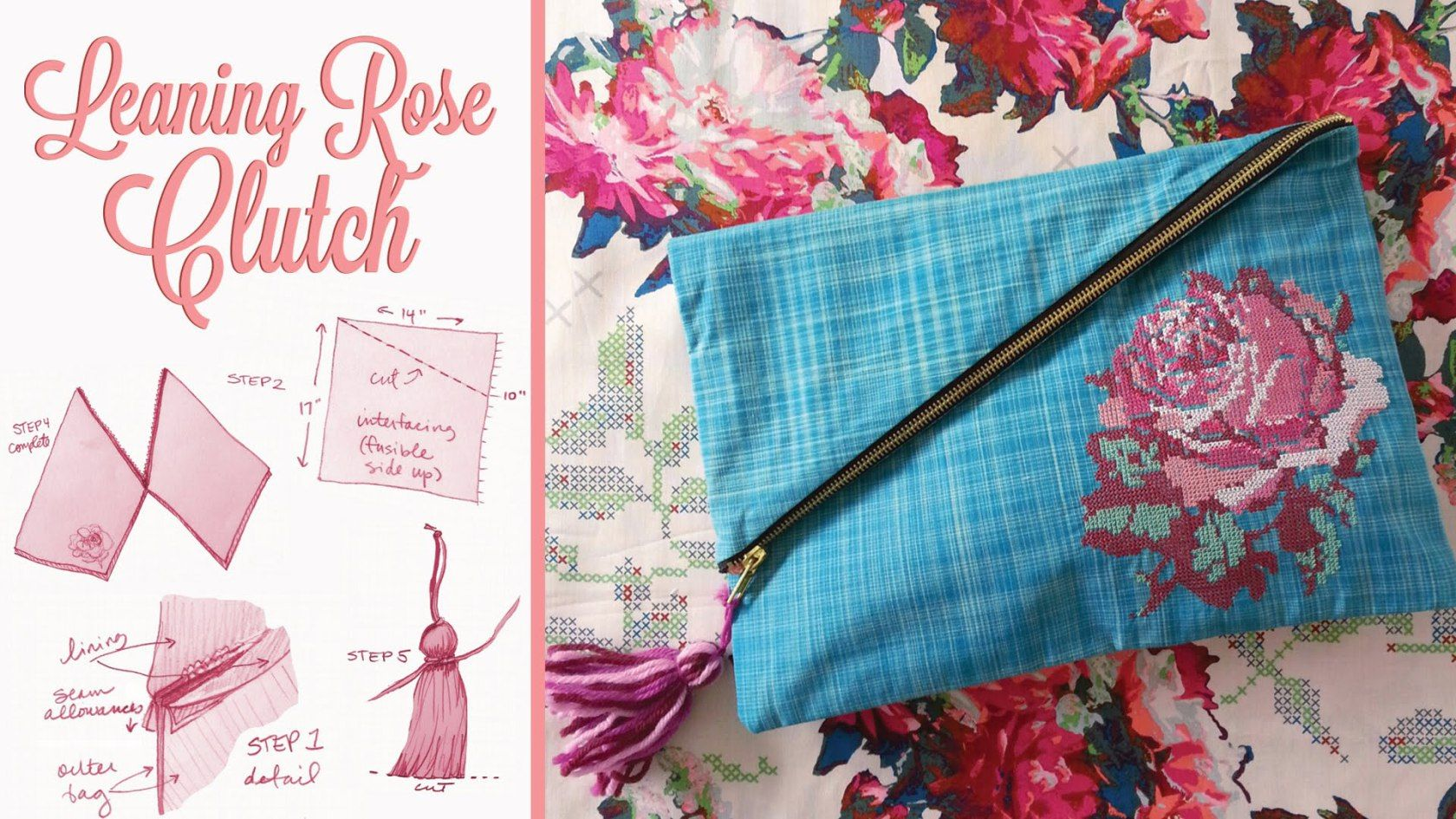 Learn to sew the leaning rose clutch purse anna maria horner learn to sew the leaning rose clutch purse jeuxipadfo Gallery