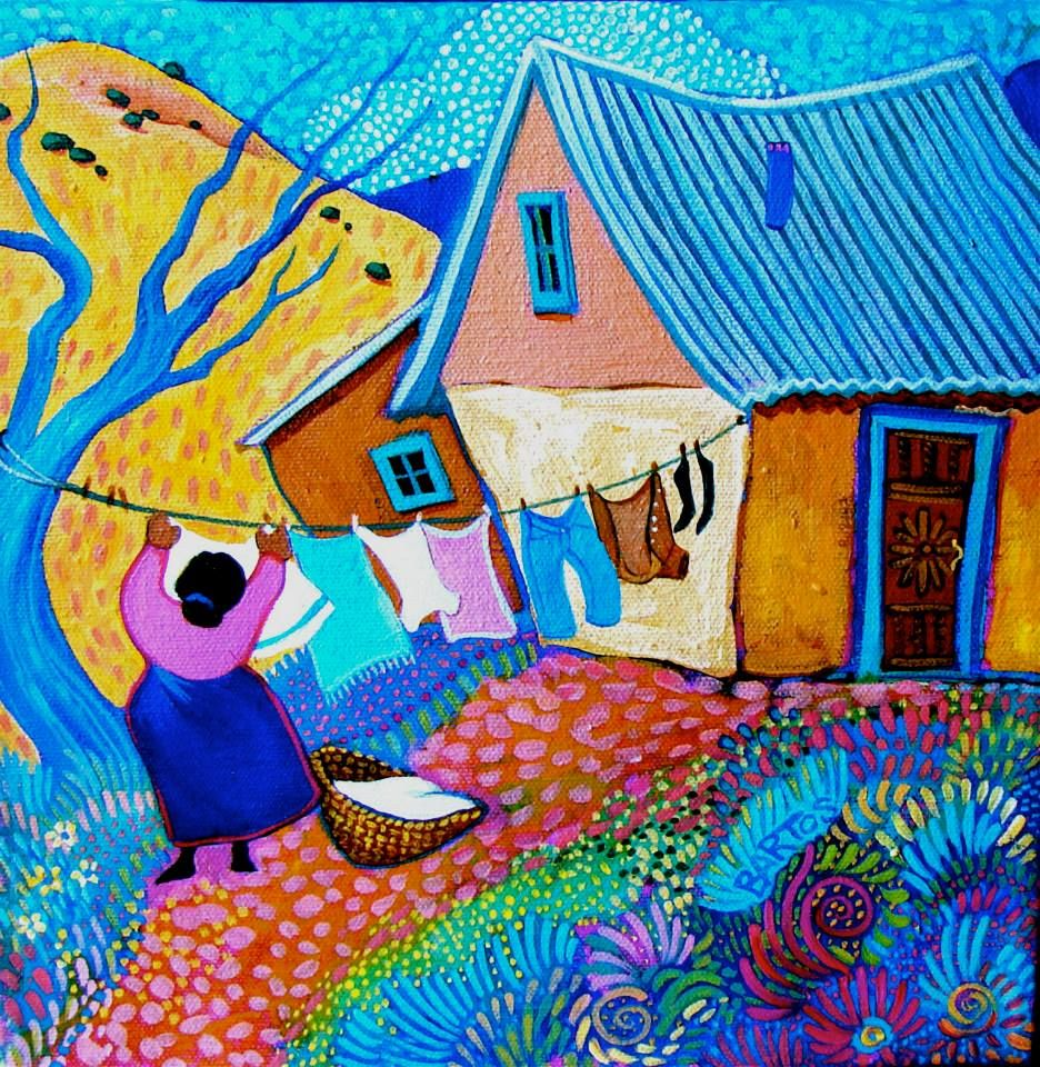 Laundry Day by Sally Bartos, New Mexico artist. Her work is available from bartos on Etsy.