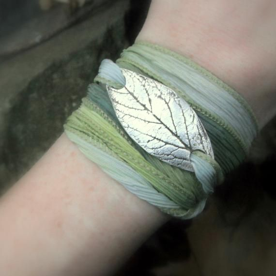 Woodland Leaf Bracelet – Wrap Bracelet Made From a Real Leaf – Silk Ribbon Wrap – Artisan Handcrafted Recycled Silver Botanical Jewelry