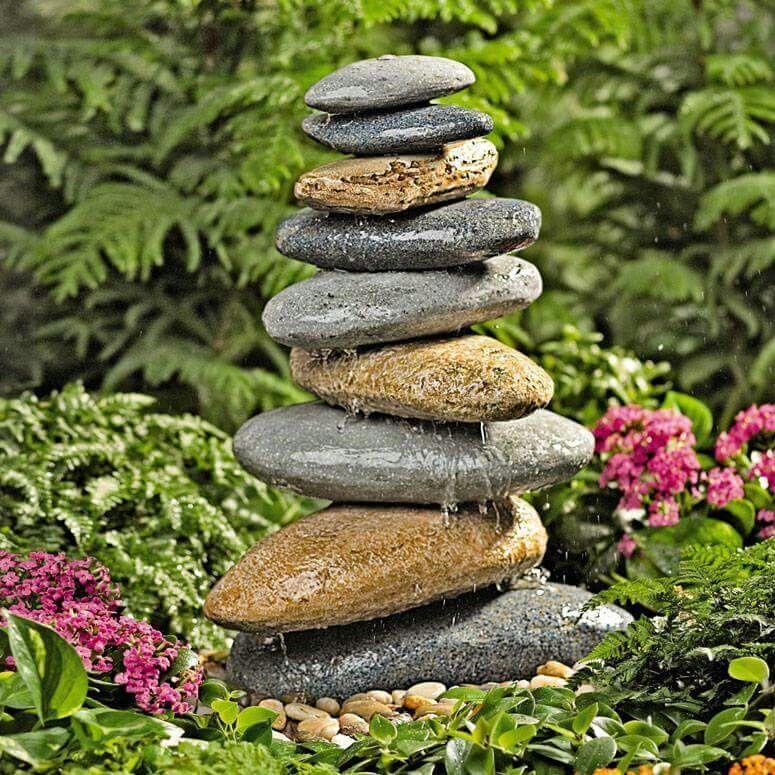 Hermosa fuente de piedras de río plantas y detalles lindos - gartenbrunnen modernes design