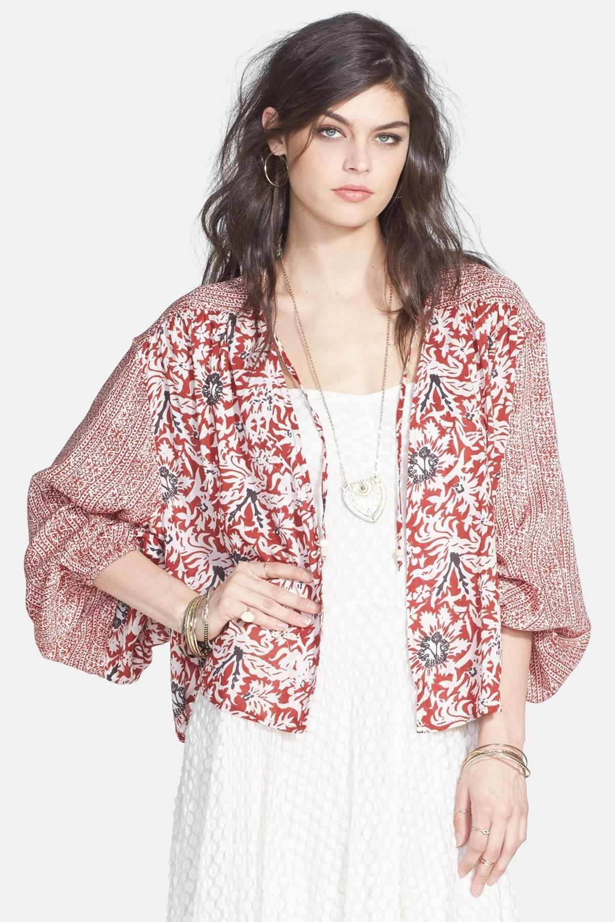 Free People | Mixed Print Balloon Sleeve Jacket | Blusas y Ropa
