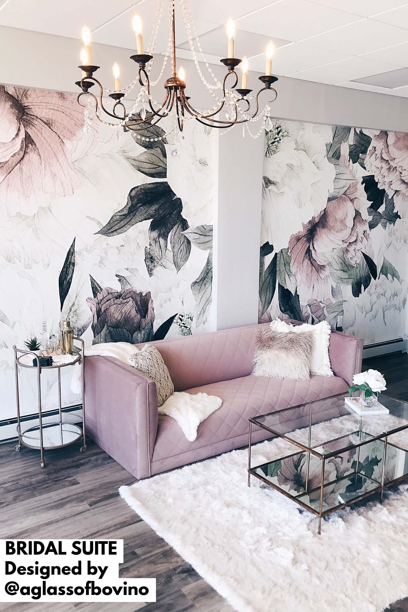 Modern Rustic Glam Luxury Bridal Suite With Floral Wallpaper And