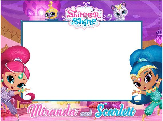Shimmer And Shine Birthday Party Frame Sticker Digital Image Only