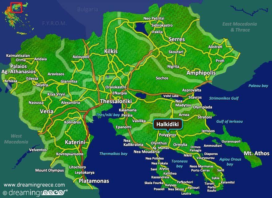 Halkidiki Map Greece. Central Macedonia. #dreamingreece ...