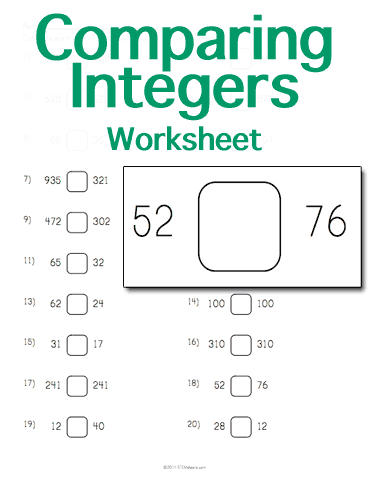 math worksheet : customizable and printable comparing integers worksheet  math  : Comparing Integers Worksheet
