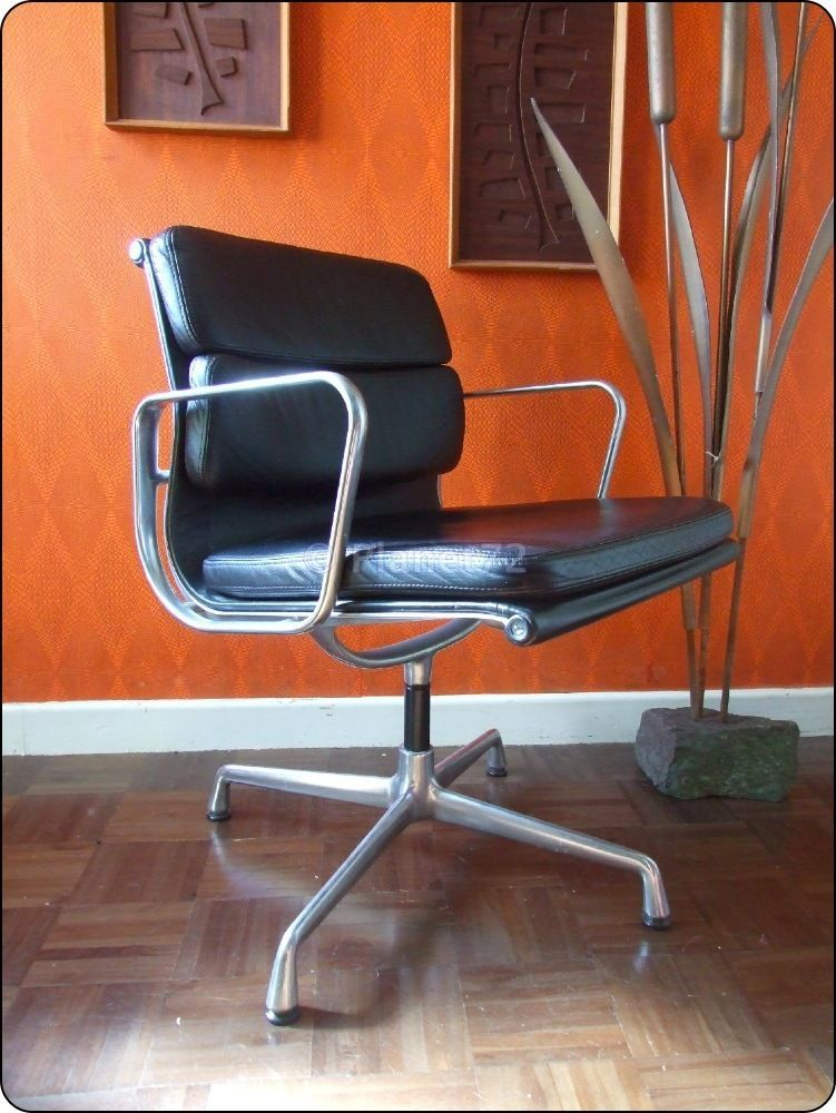 Charles Ray Eames Vitra Soft Pad Office Desk Chair Black Leather Aluminium Chair Best Office Chair Antique Chairs
