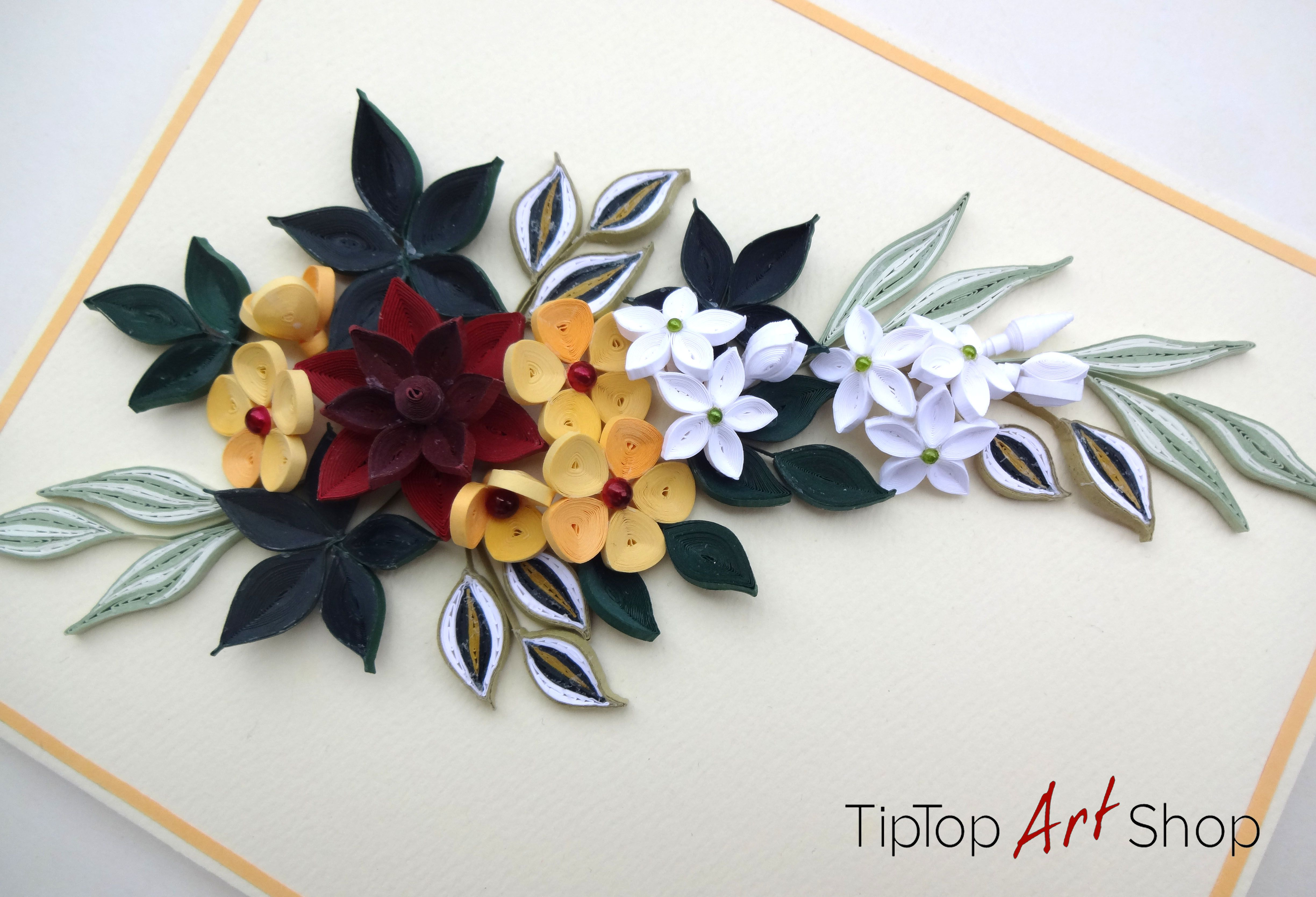 Quilled Flowers In Deep Red Yellow White And Different Types Of