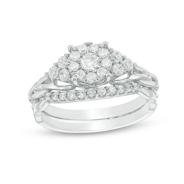 5/8 CT. T.W. Diamond Frame TriSides Braid Shank Bridal