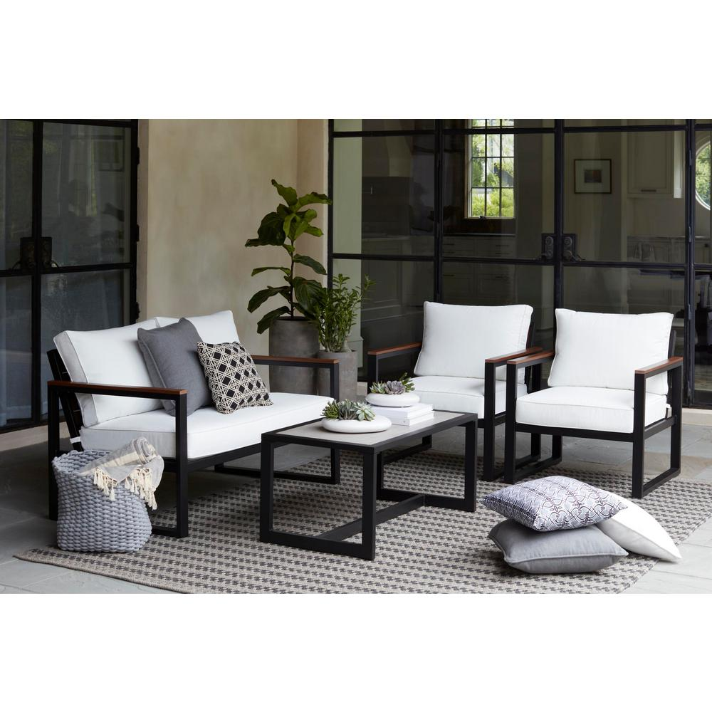 Hampton Bay West Park Black Aluminum Outdoor Patio 4-Piece