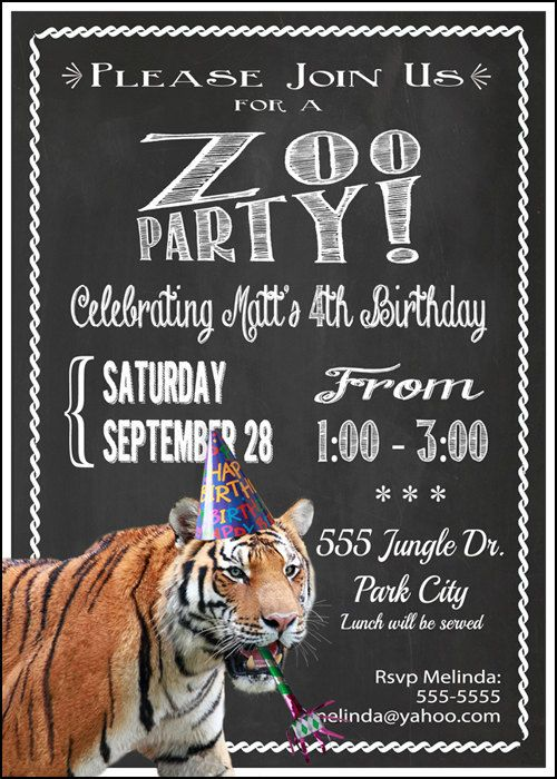 Zoo Safari Party Invitation Birthday Printable Animal Themed