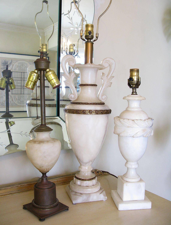 Stunning Large Vintage Alabaster Urn Table Lamp In 2019