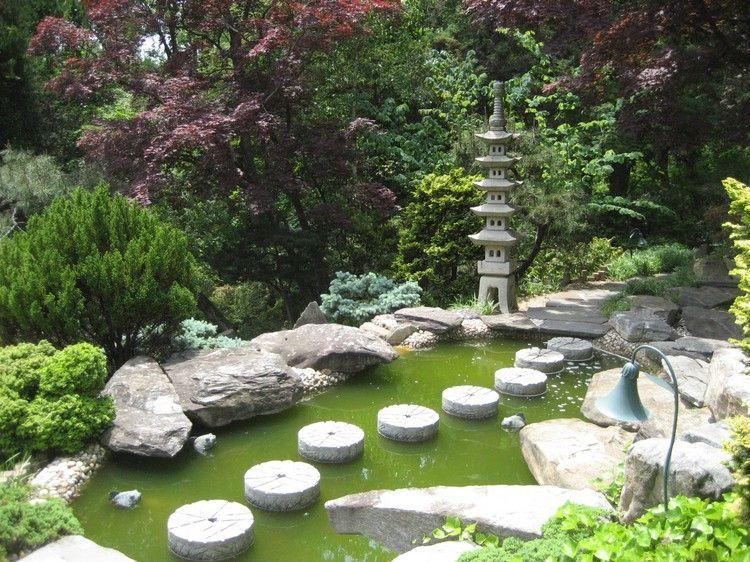 jardin japonais, bassin d\'eau, déco nature et ambiance végétale ...
