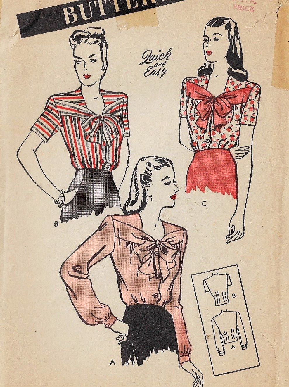 1940s Butterick Sewing Pattern 3495 Womens Unusual Bow Front Blouse Size 14 Bust 32 FF Un-Printed Sewing Pattern