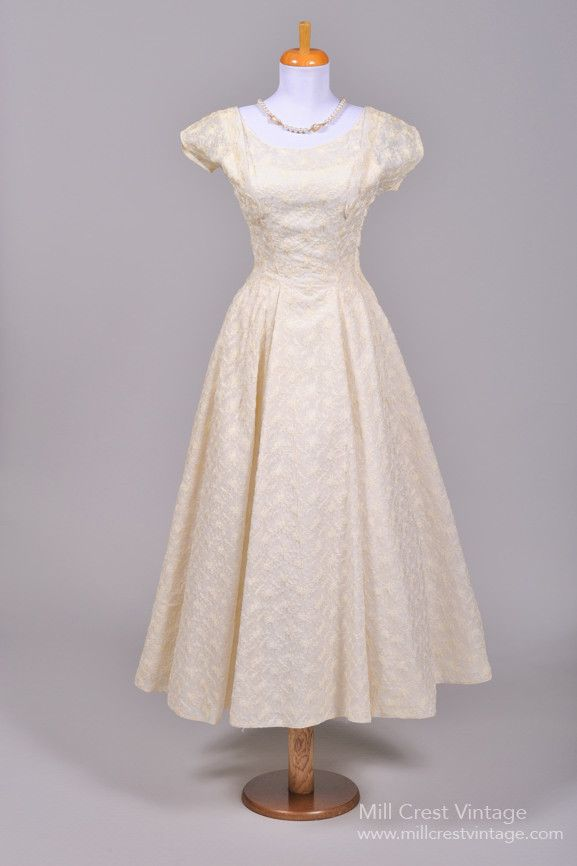 1940 Embroidered Tea Length Vintage Wedding Dress , Vintage Wedding ...