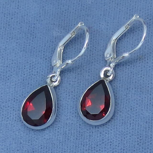 10 X 7mm Genuine Garnet Earrings Leverback Sterling Silver Pear Shape Large