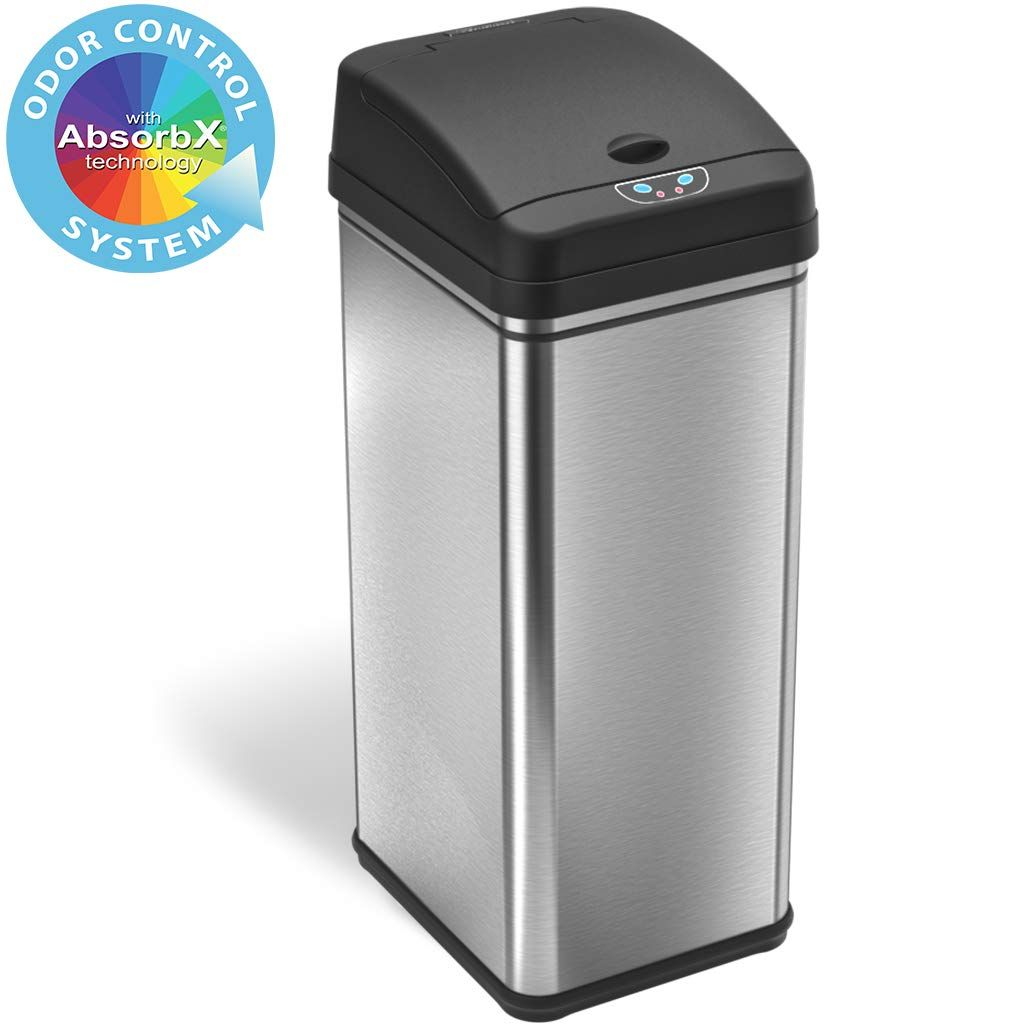 Itouchless 13 Gallon Stainless Steel Automatic Trash Can With Odor Absorbing Filter Wide Opening Sensor Kitchen Trash Bin Powered By Batteries In 2020 Kitchen Trash Cans Trash Can Trash Bins