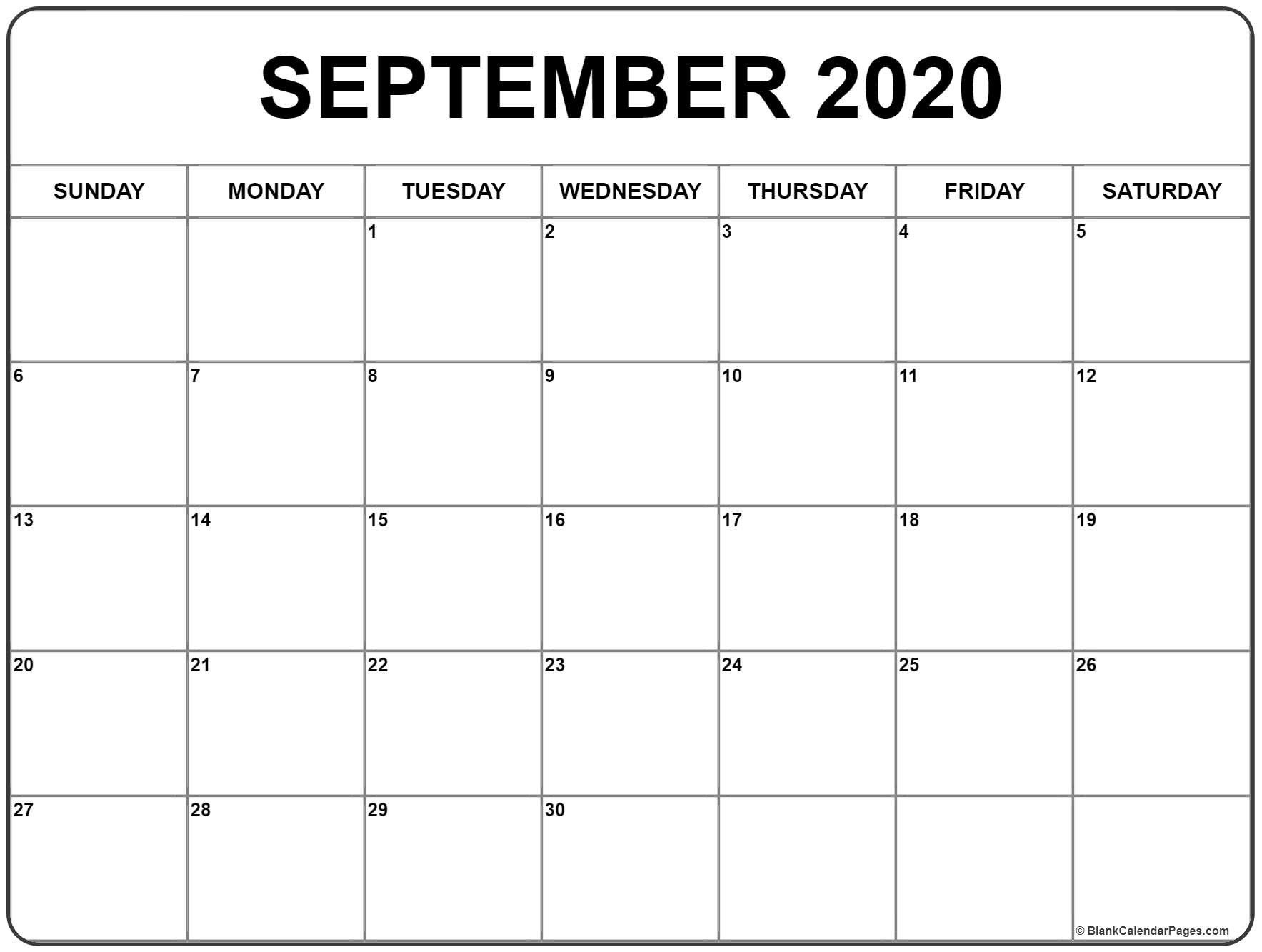 printable calendar for september 2020