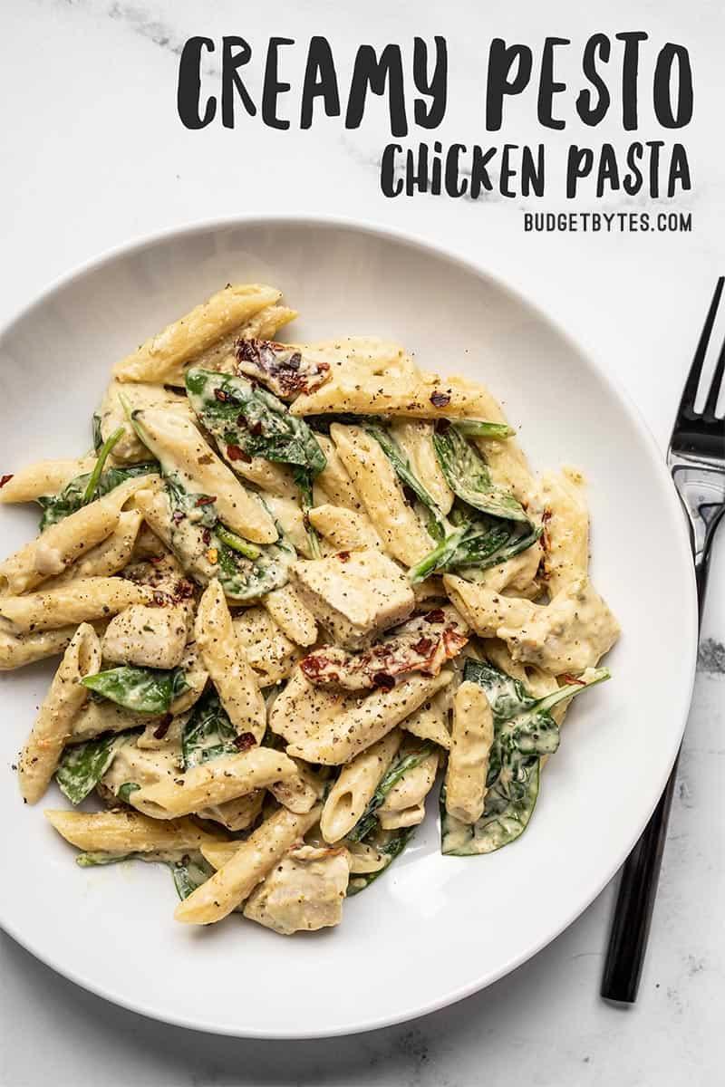 One Pot Creamy Pesto Chicken Pasta Recipe Budget Bytes Recipe Pesto Pasta Recipes Chicken Creamy Pesto Chicken Pasta Pesto Chicken Pasta
