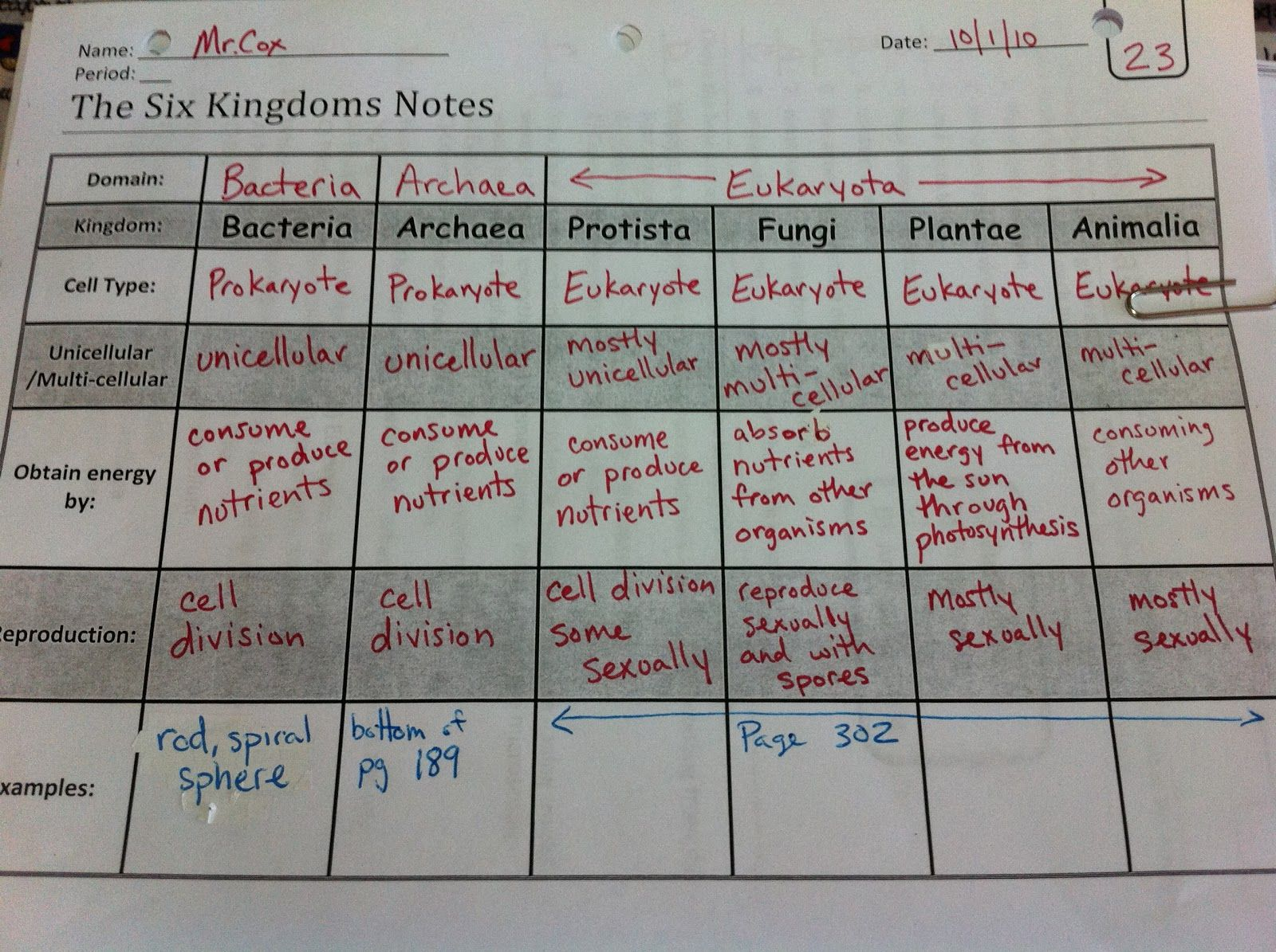 Garner 6th Grade Science Blog Six Kingdoms Foldable